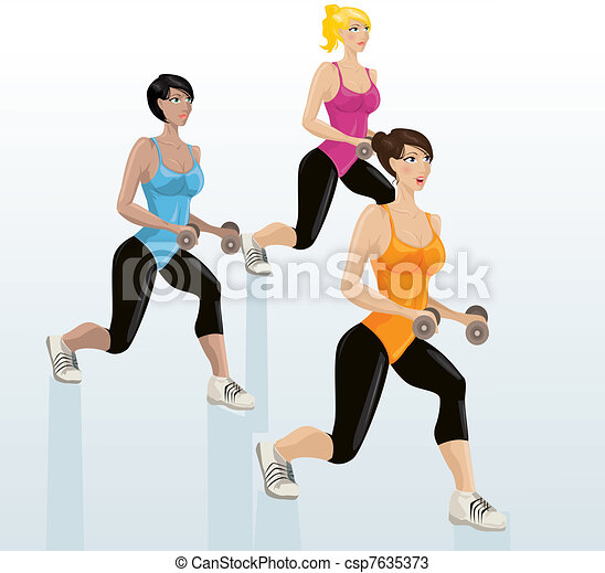 Young attractive girls exercising - csp7635373