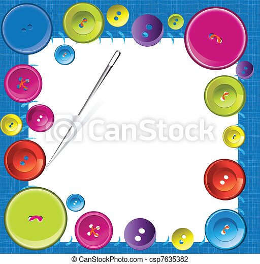 Vector buttons frame on fabric texture background - csp7635382