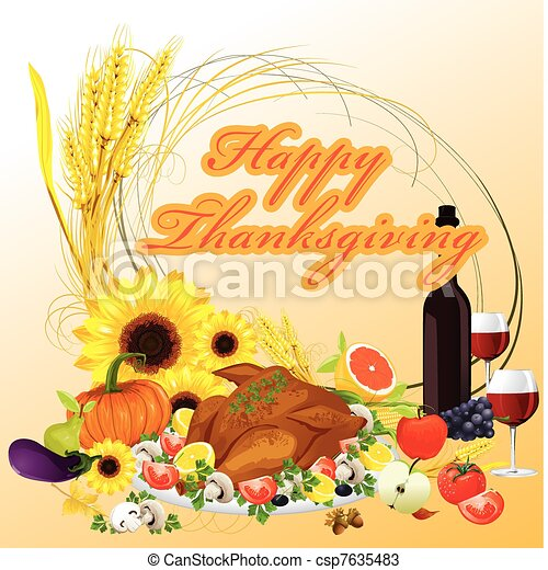 thanksgiving dinner illustration background - csp7635483