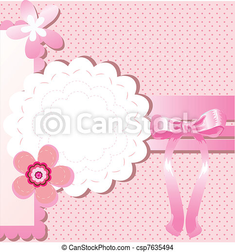 Card for greeting or congratulation with the pink bow - csp7635494