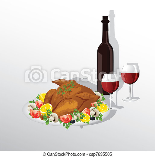 Tasty crispy roast turkey or hen and vegetables,and wine - csp7635505