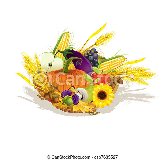 rich harvest of vegetables and fruits, vector illustration  - csp7635527