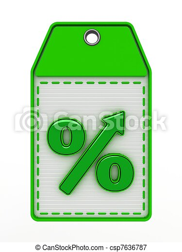 The green sign of percent designating increase - csp7636787