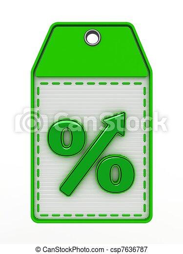 The green sign of percent designating increase - csp7636787