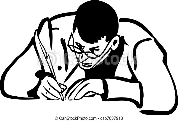 sketch of a man with glasses writing quill pen - csp7637913