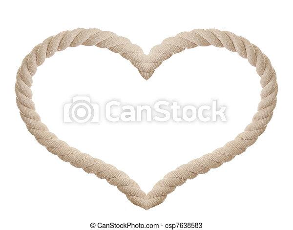 corda, em, a, FORMA, de, Coração, isolado - csp7638583
