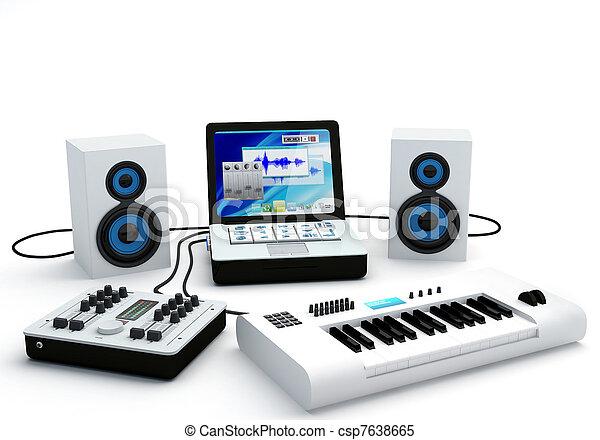 Home Recording Studio Equipment - csp7638665