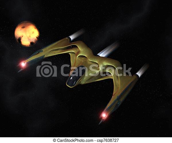 Biomechanical spaceship in action - csp7638727