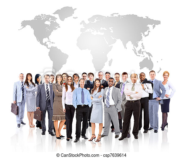 Businessmen standing in front of an earth map - csp7639614