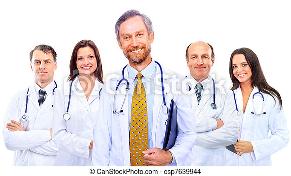 Portrait of group of smiling hospital colleagues standing together  - csp7639944
