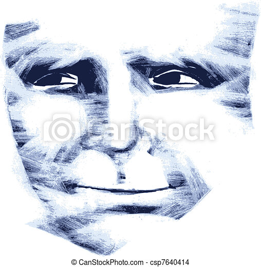 Kind face, artwork trace. - csp7640414