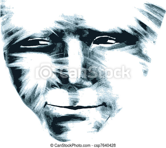 Male face, artwork trace. - csp7640428
