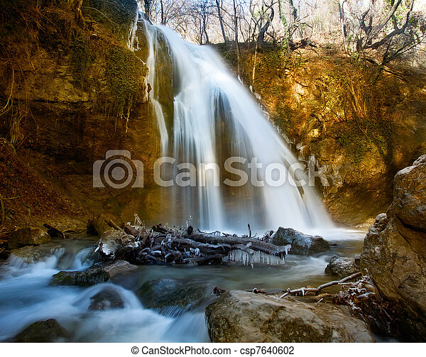 Winter waterfalls in mountains. - csp7640602