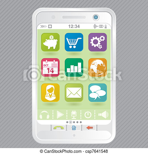 White Smartphone with Icons - csp7641548