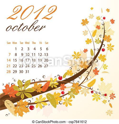 Calendar for 2012 October - csp7641612