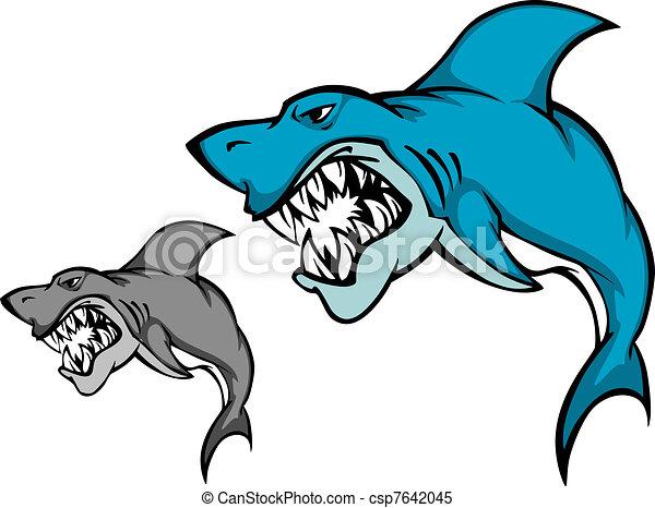 Danger shark with sharp tooth - csp7642045