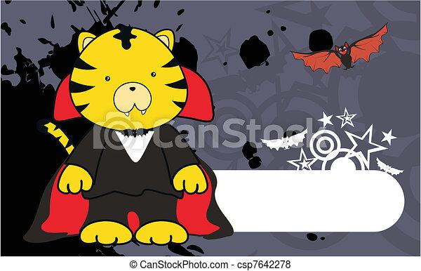 tiger dracula cartoon background - csp7642278