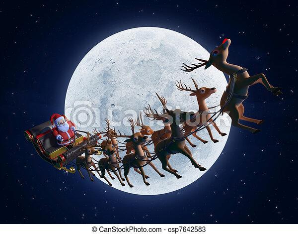 santa with his sleigh - csp7642583