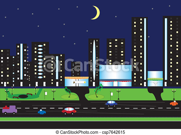 Night scenery of city with moon - csp7642615