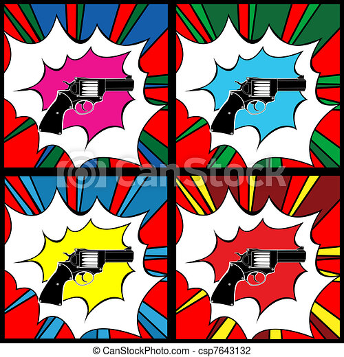 Pop art pistol - csp7643132