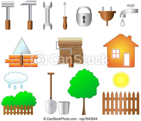 Dibujos de conjunto objetos hogar trabajo casa for Cosas de hogar