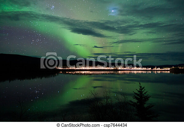 Stars and Northern Lights over dark Road at Lake - csp7644434
