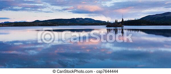 Calm Twin Lakes at Sunset, Yukon Territory, Canada - csp7644444