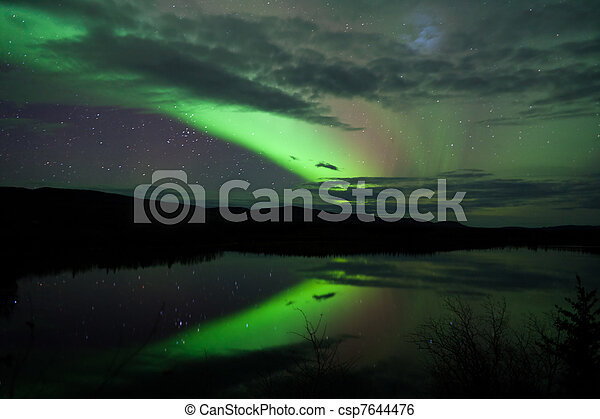 Night Sky Stars Clouds Northern Lights mirrored - csp7644476