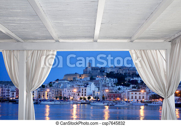 Ibiza town view from white gazebo - csp7645832