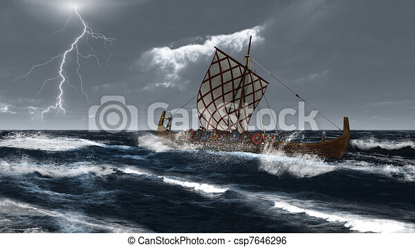 Viking Longship in an Atlantic Stor - csp7646296