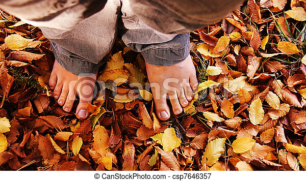barefoot in the leaves - csp7646357