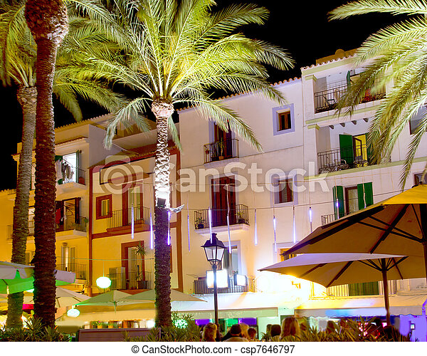 Ibiza island nightlife in Eivissa town - csp7646797