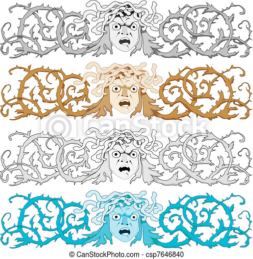 Head of Medusa Gorgon with snake hair and curled prickly bush as a headline or banner, vector illustration - csp7646840