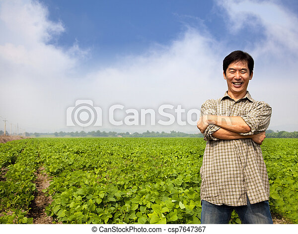success asian middle-aged farmer - csp7647367
