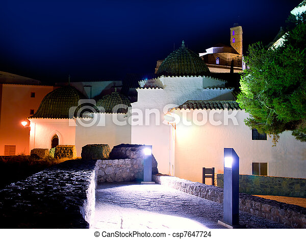 Ibiza Dalt Vila with church night lights - csp7647724