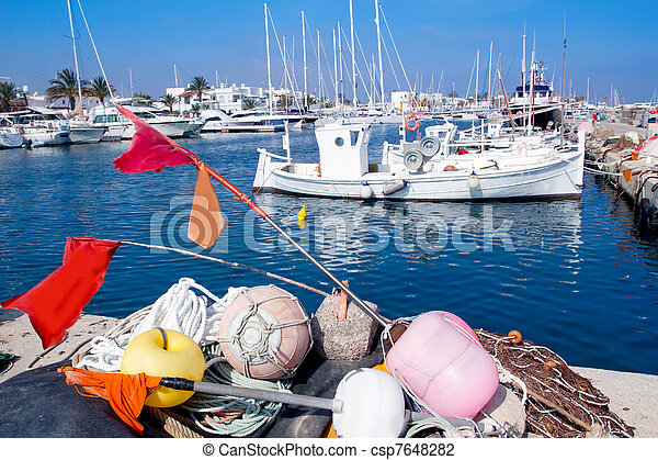 fisherboats with nets longlines buoy tackle - csp7648282