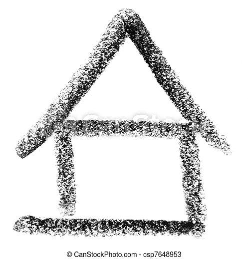 zeichnungen von haus skizze bundstift gemalt haus ikone in wei es csp7648953. Black Bedroom Furniture Sets. Home Design Ideas