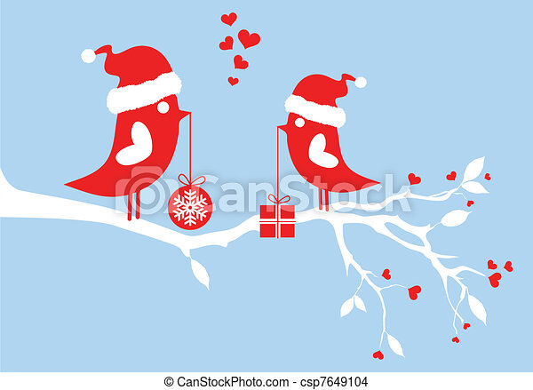 santa birds, vector - csp7649104