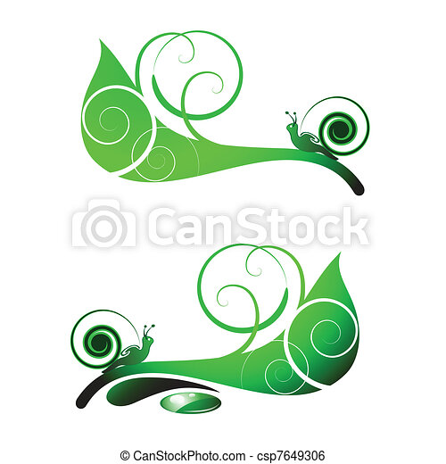 Snail on leaf - csp7649306