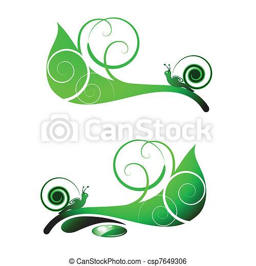 Snail on leaf  - csp7649306