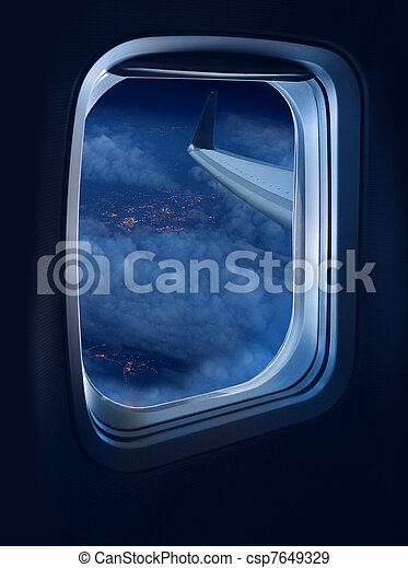 Night flight travel - csp7649329