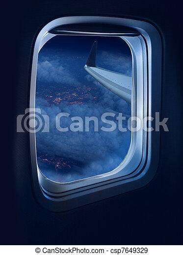 Night flight travel - csp7649329