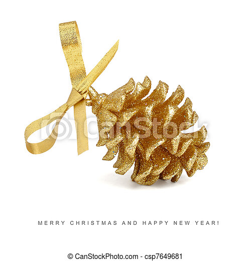 Christmas card - golden pinecone with bow isolated on white background
