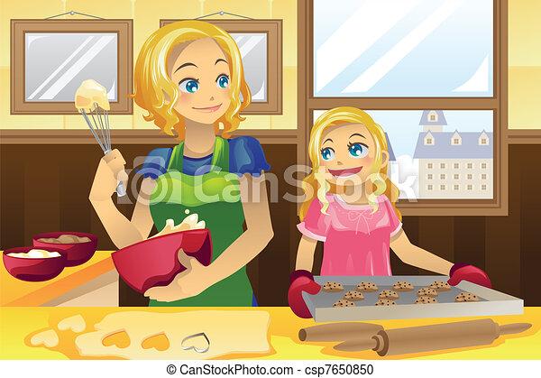 Mother daughter baking cookies - csp7650850