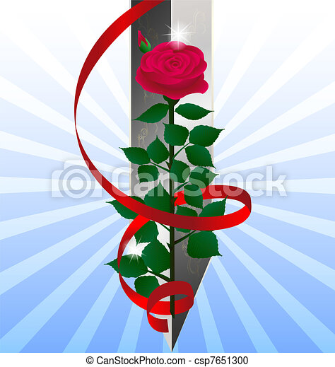red rose and sword - csp7651300