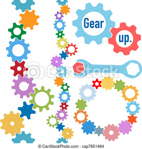 Gears colors industrial circle line border set - csp7651464