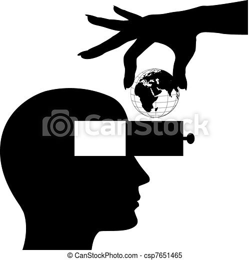 Hand world into male head open mind drawer - csp7651465