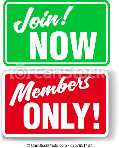 Website Members Only or Join Website signs - csp7651467