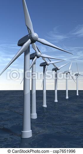 Offshore wind turbines in portrait - csp7651996