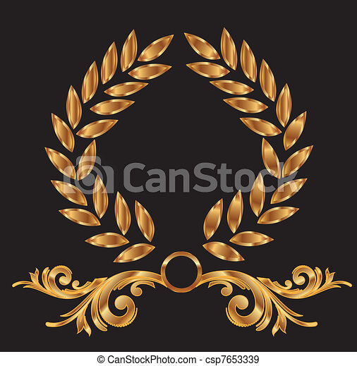 Gold laurel wreath decoration - csp7653339